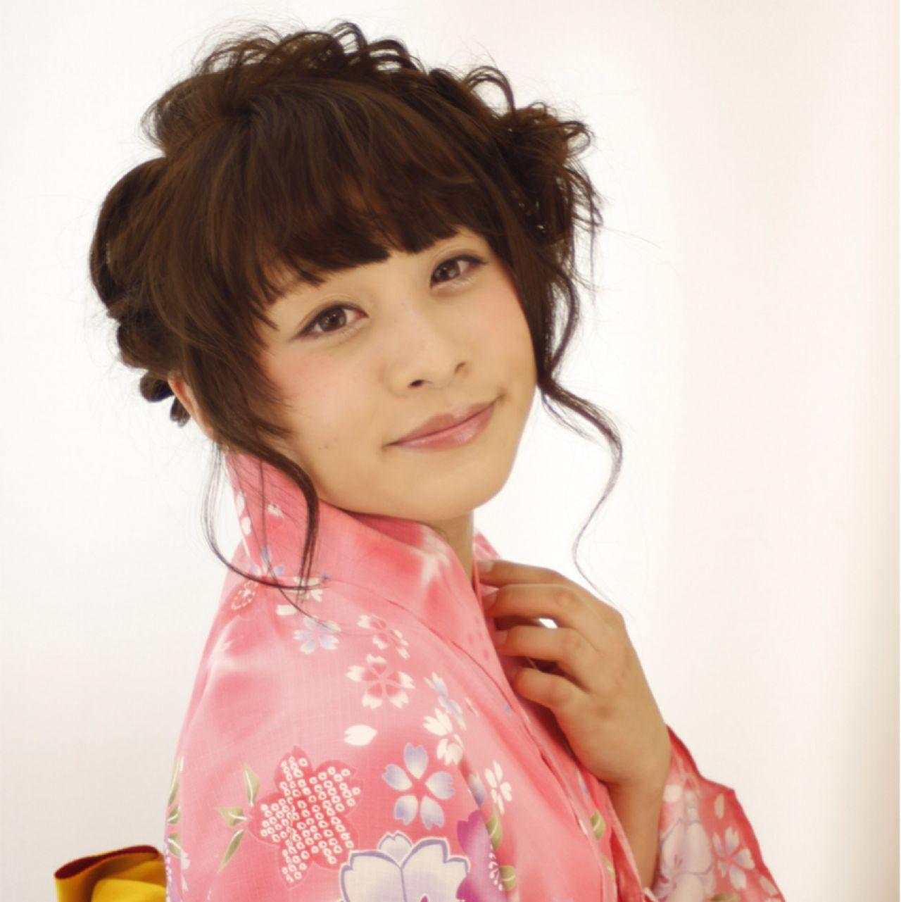 花火大会 ヘアアレンジ ゆるふわ ガーリーヘアスタイルや髪型の写真・画像