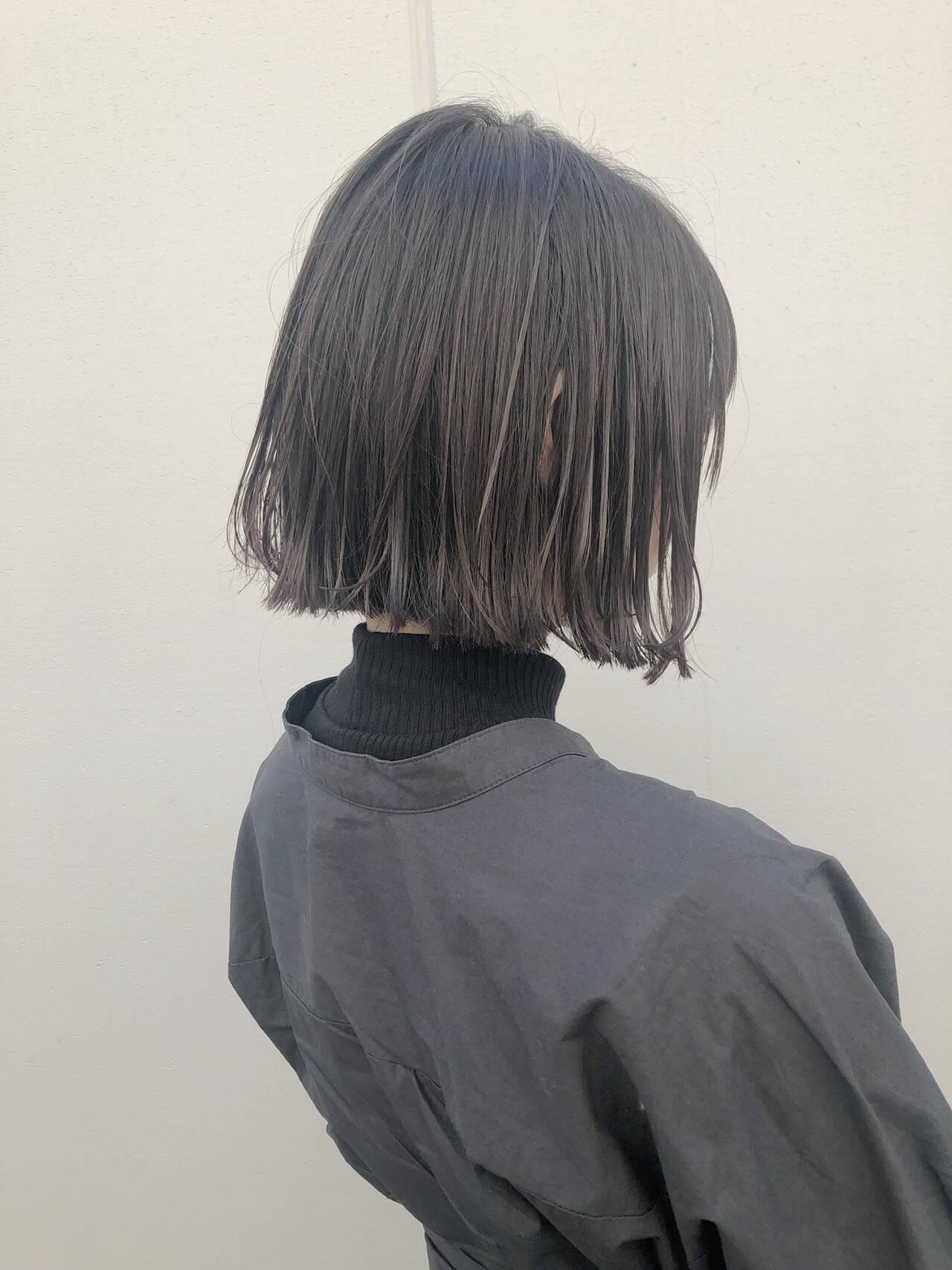 ボブ 切りっぱなしボブ 透明感カラー ストリートヘアスタイルや髪型の写真・画像