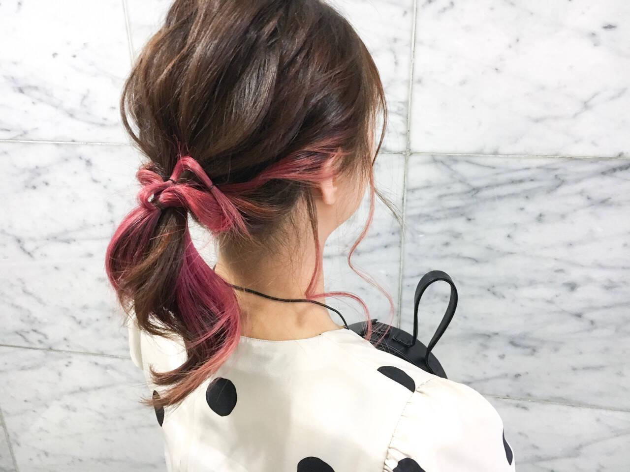 ストリート ダブルカラー ピンク ヘアアレンジヘアスタイルや髪型の写真・画像