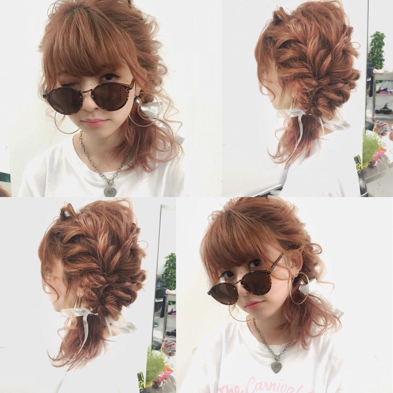 ショート ヘアアレンジ ミディアム 夏ヘアスタイルや髪型の写真・画像