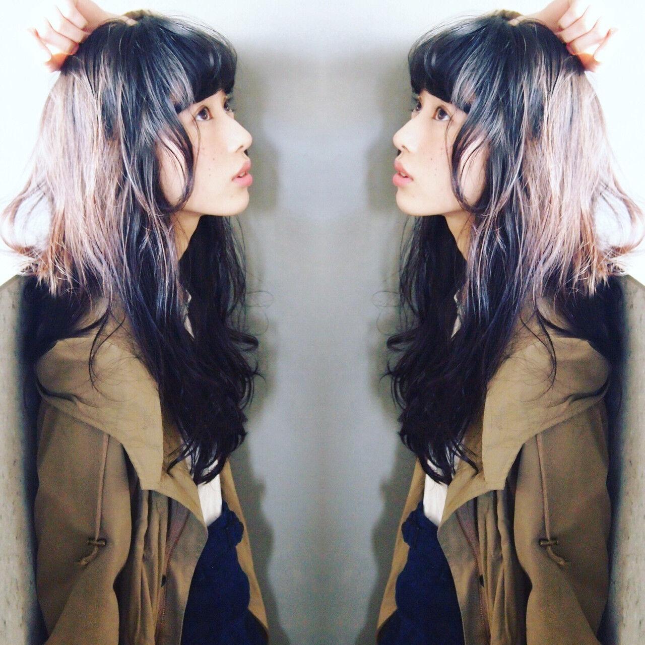 外国人風 大人かわいい ロング 黒髪ヘアスタイルや髪型の写真・画像