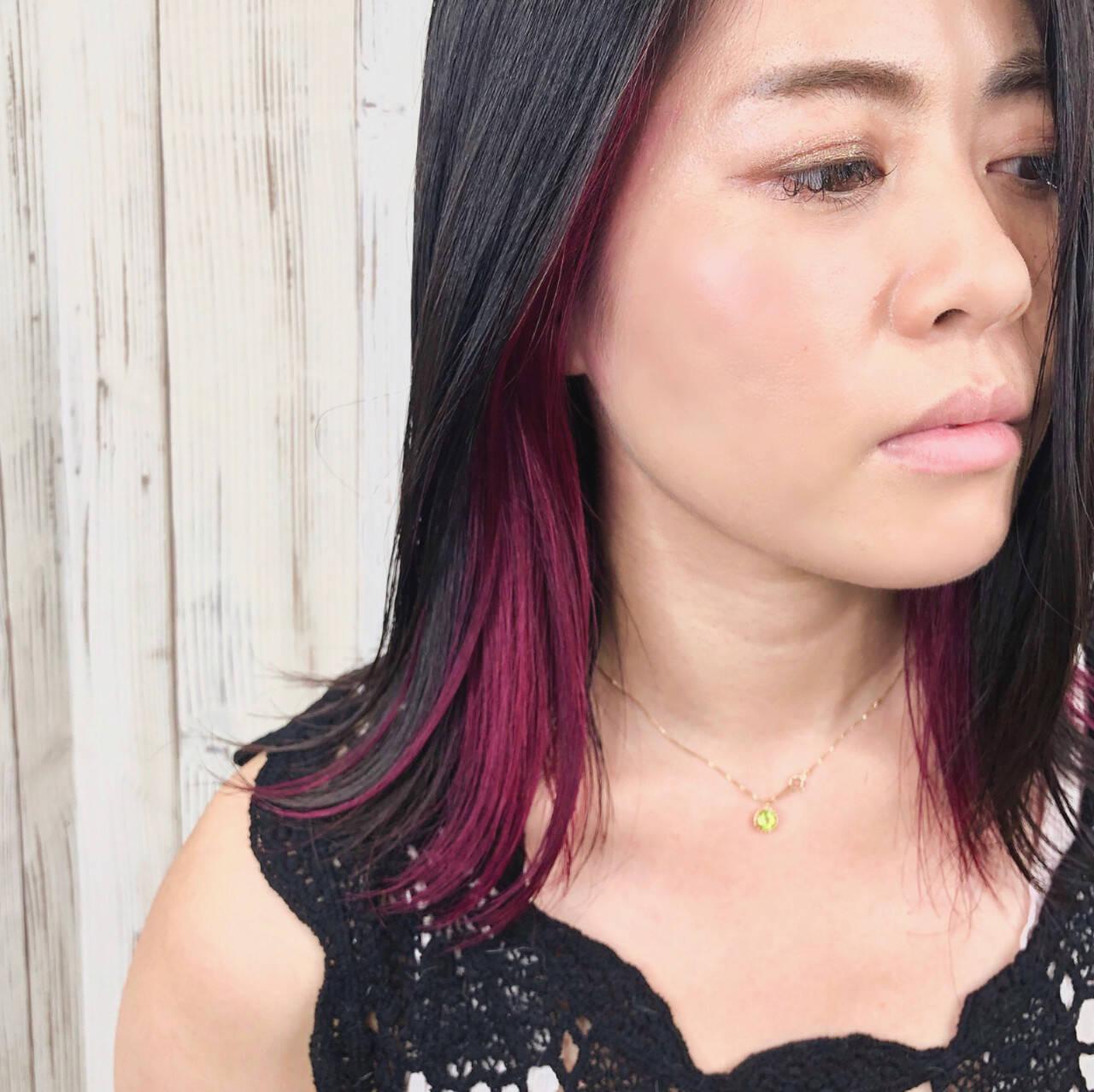 エレガント カシスレッド レッドカラー トレンドヘアスタイルや髪型の写真・画像