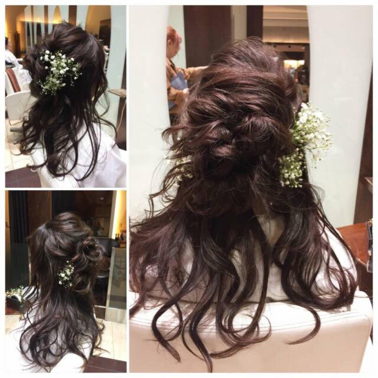 花 ヘアアレンジ エレガント セミロングヘアスタイルや髪型の写真・画像