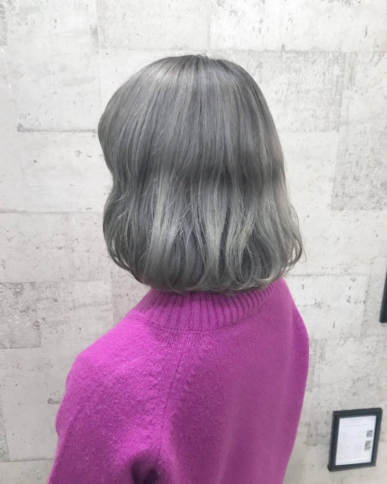 ダブルカラー ボブ ストリート ブリーチヘアスタイルや髪型の写真・画像