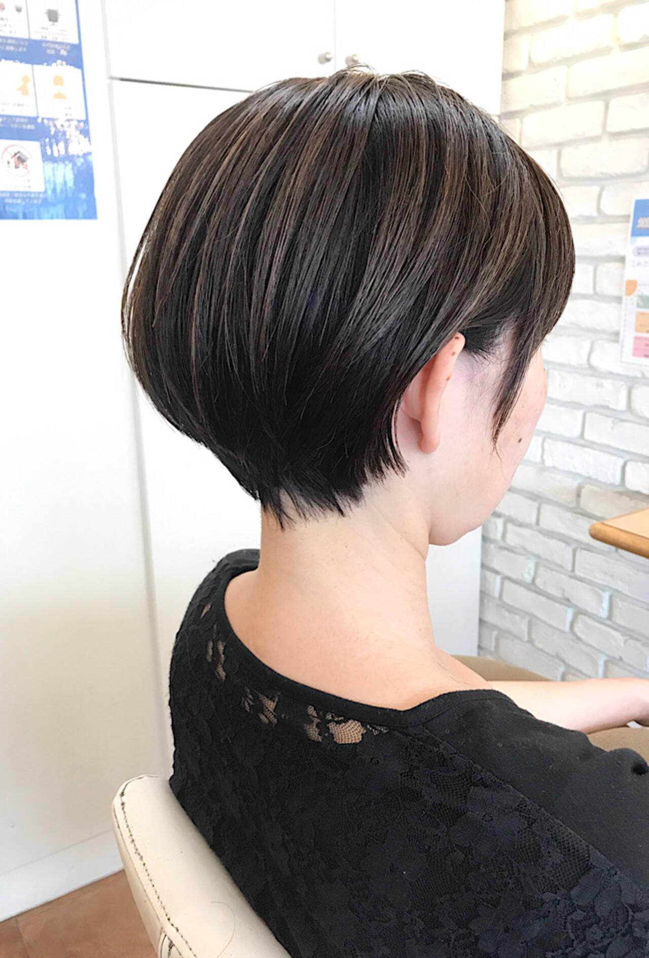 透明感カラー ナチュラル ショートボブ ミニボブヘアスタイルや髪型の写真・画像