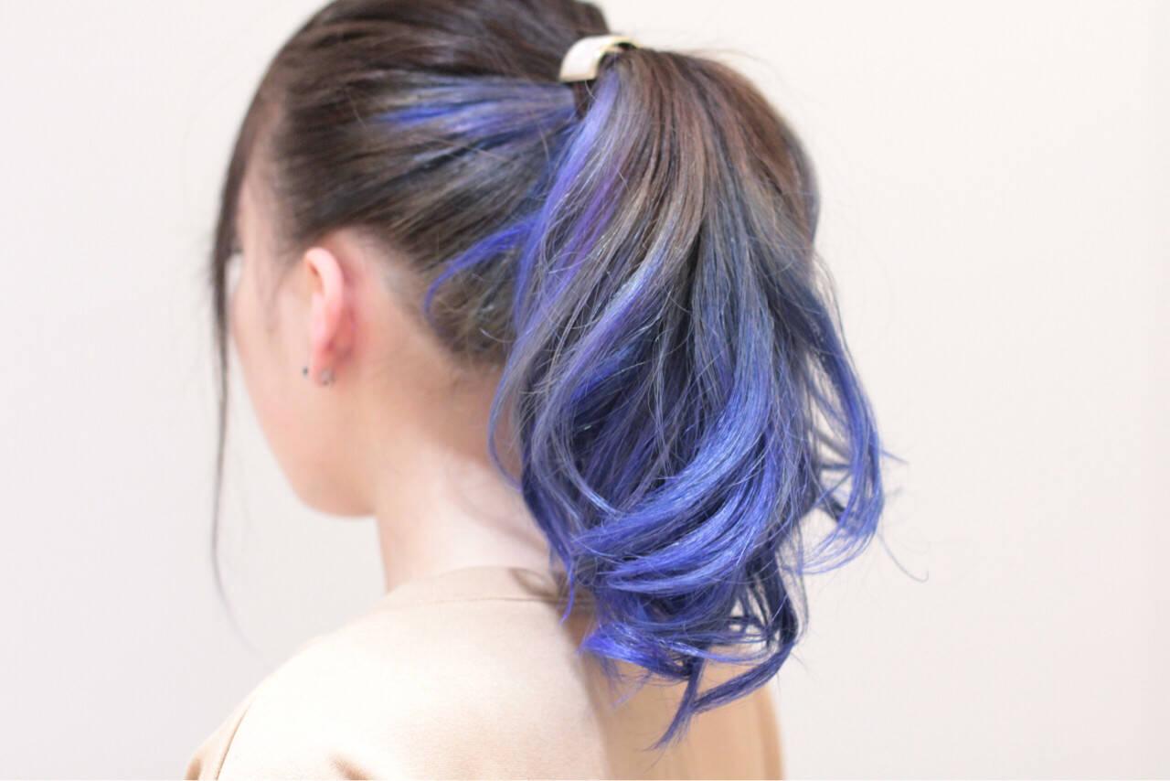 ロング ヘアアレンジ 個性的 グラデーションカラーヘアスタイルや髪型の写真・画像
