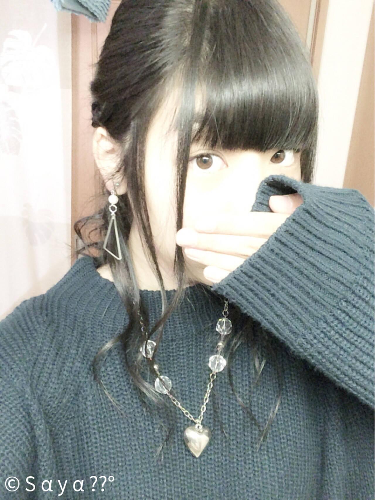 セミロング カール 大人かわいい くるりんぱヘアスタイルや髪型の写真・画像