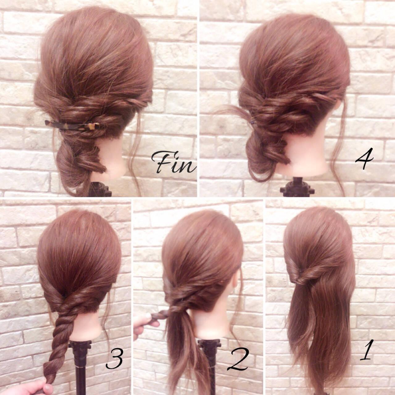 ナチュラル 簡単ヘアアレンジ 大人女子 ミディアムヘアスタイルや髪型の写真・画像