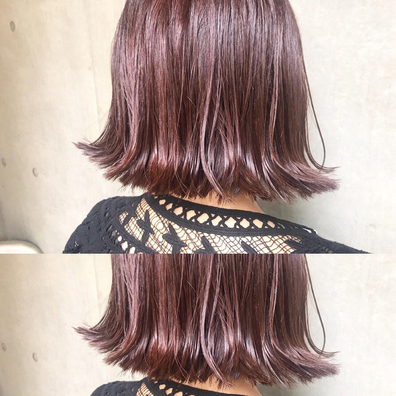 ハイライト アッシュ ボブ モードヘアスタイルや髪型の写真・画像