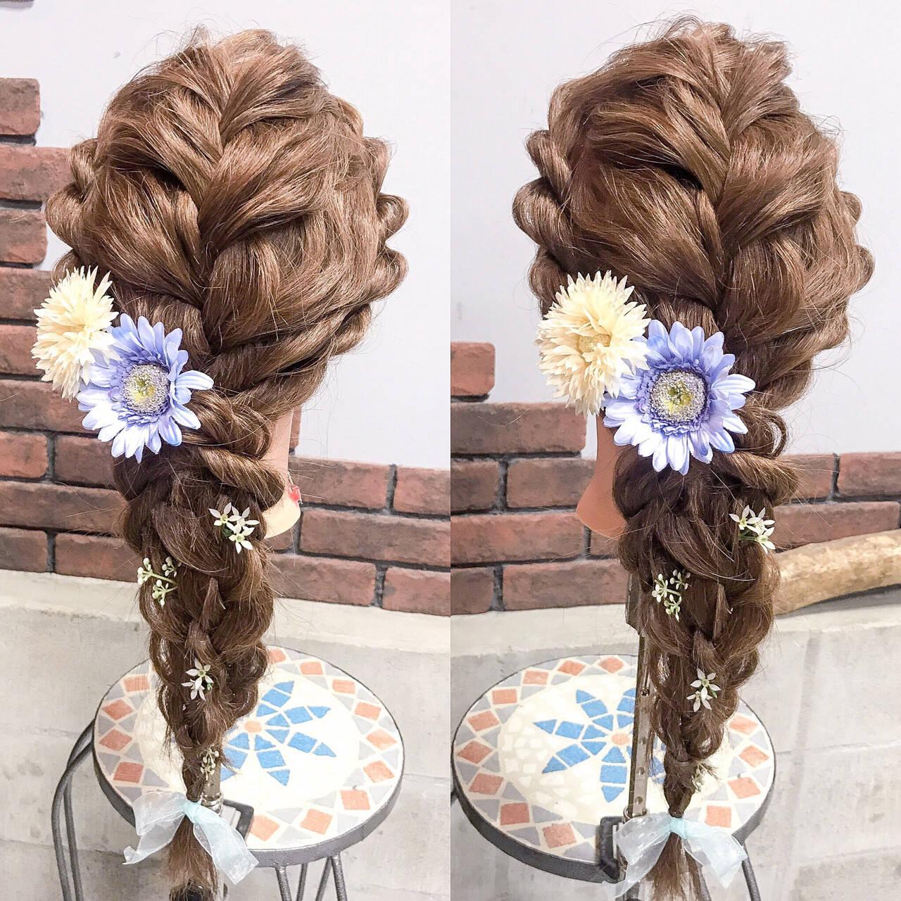 ハロウィン 編み込み フェミニン ディズニーヘアスタイルや髪型の写真・画像