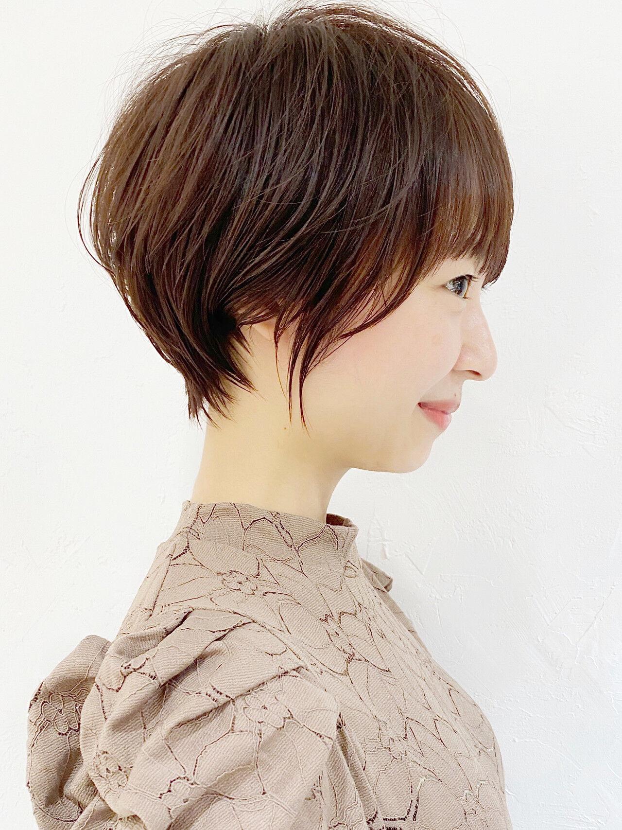 ショート ひし形シルエット ナチュラル ショートボブヘアスタイルや髪型の写真・画像