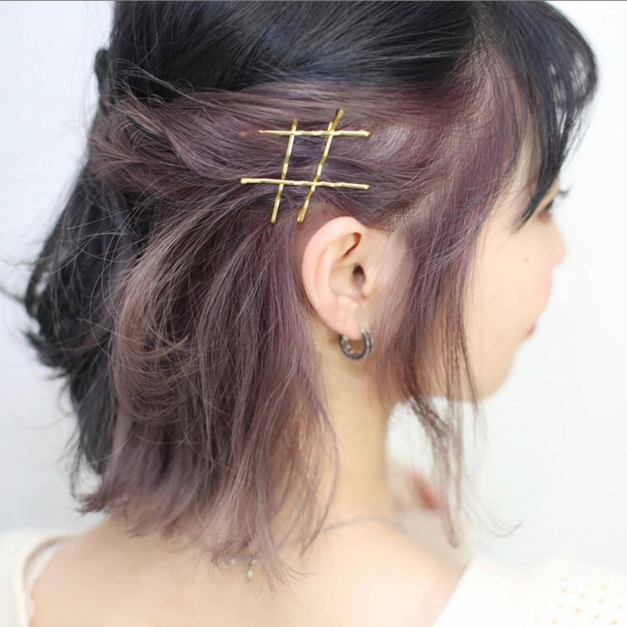 インナーカラー ボブ ヘアアレンジ ハーフアップヘアスタイルや髪型の写真・画像