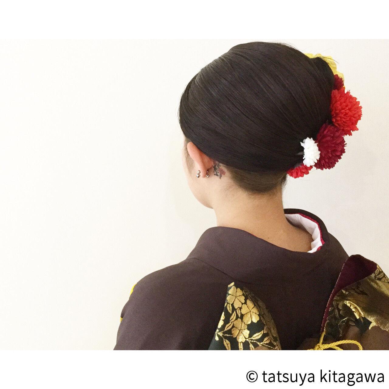 袴 黒髪 成人式 夜会巻ヘアスタイルや髪型の写真・画像