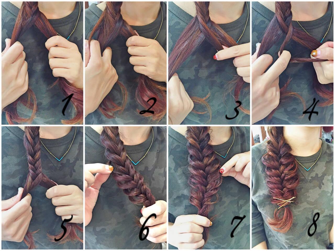 セミロング 簡単ヘアアレンジ フィッシュボーン ヘアアレンジヘアスタイルや髪型の写真・画像