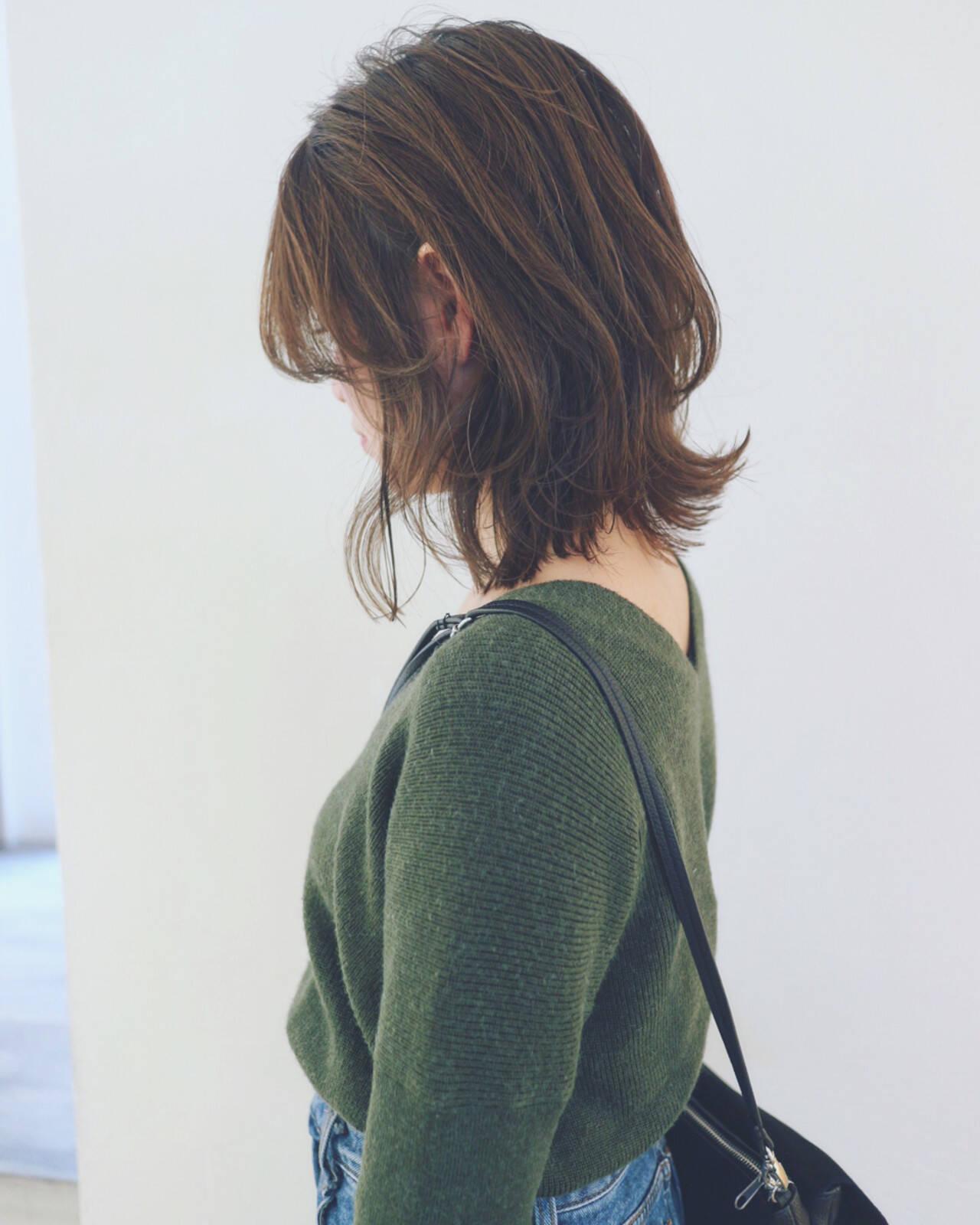 レイヤーカット フェミニン ボブ マッシュヘアスタイルや髪型の写真・画像