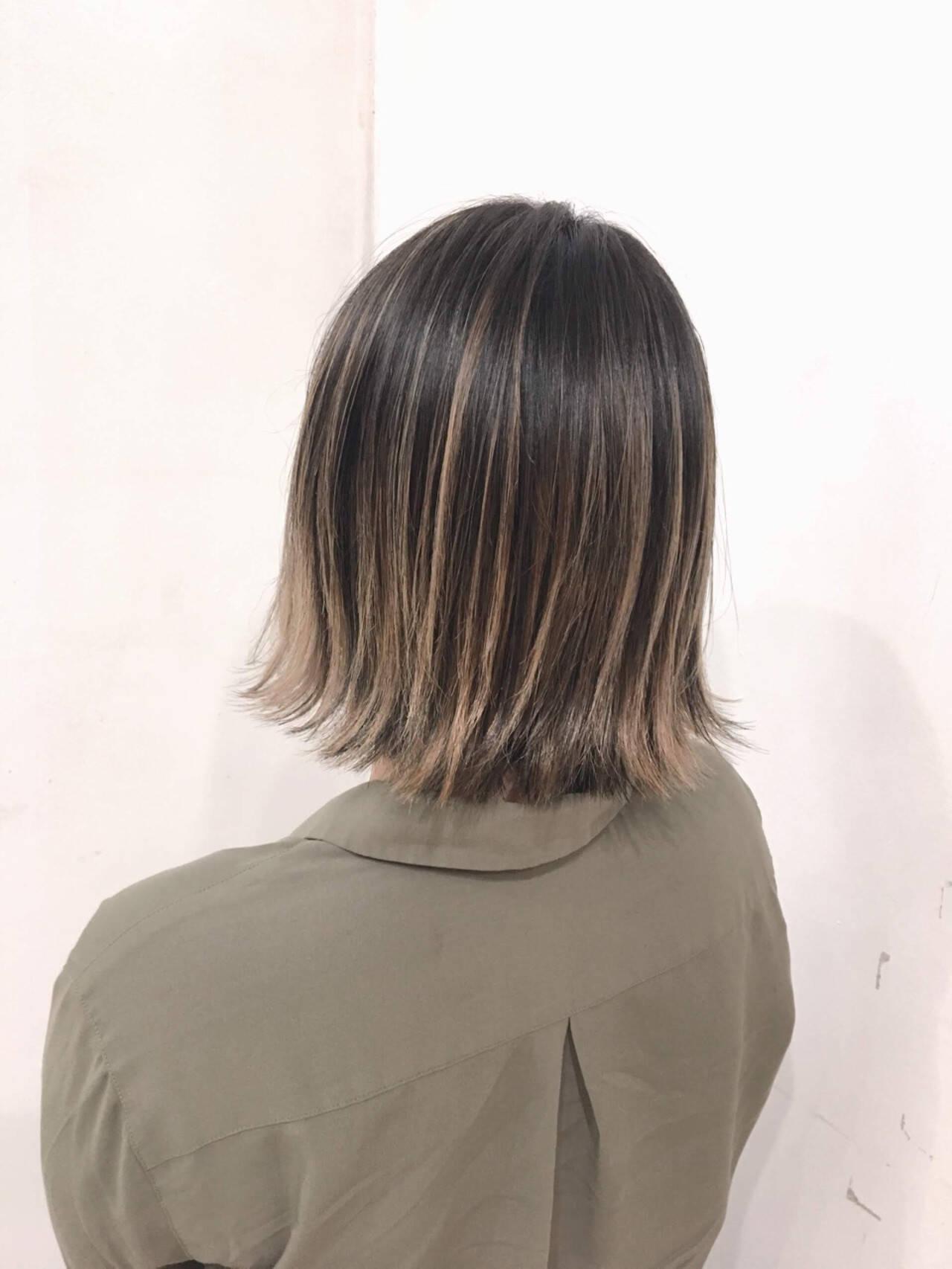 ボブ 透明感 外国人風カラー ハイライトヘアスタイルや髪型の写真・画像