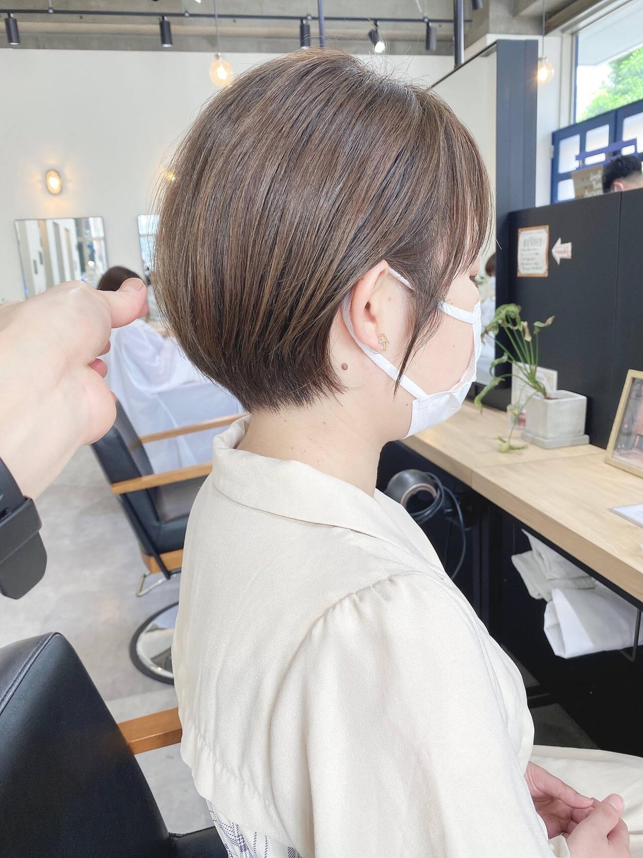 小顔ショート ナチュラル ショートヘア 大人ショートヘアスタイルや髪型の写真・画像