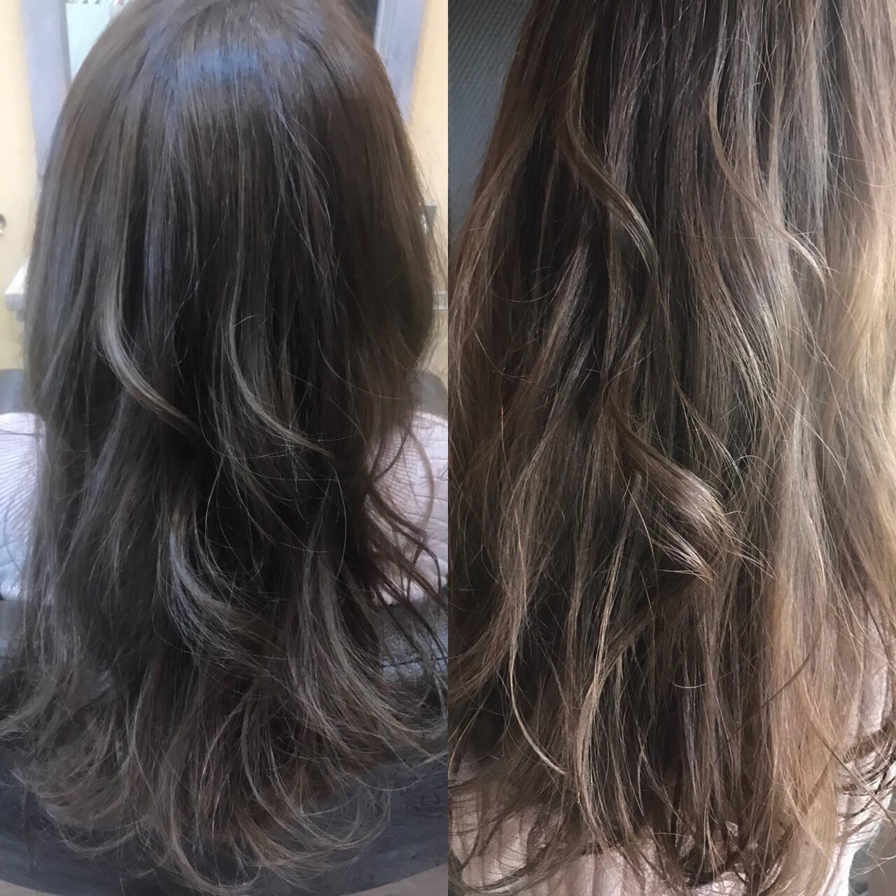 アッシュ 外国人風カラー ロング ゆるふわヘアスタイルや髪型の写真・画像