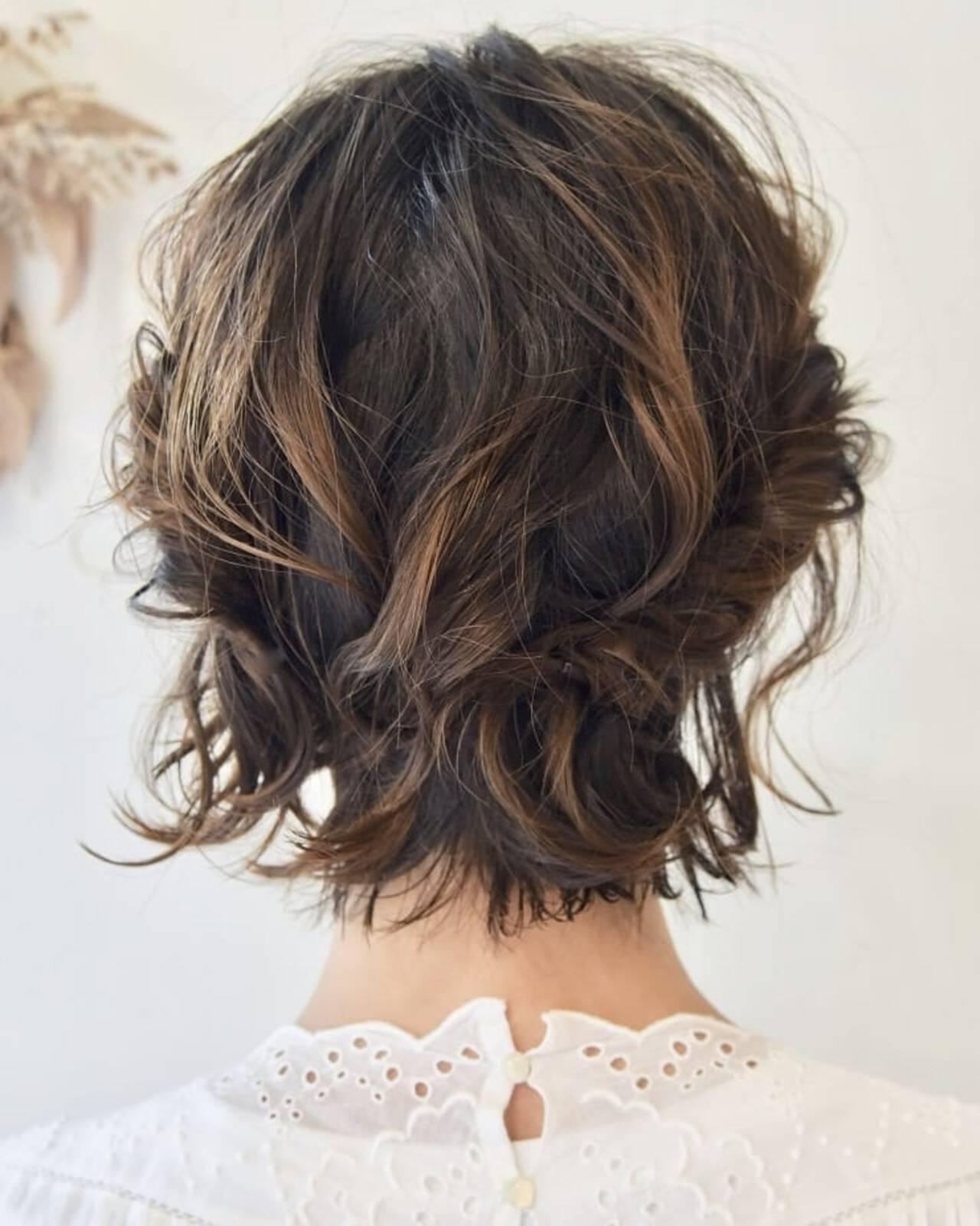 ボブ 簡単ヘアアレンジ ミニボブ ヘアアレンジヘアスタイルや髪型の写真・画像
