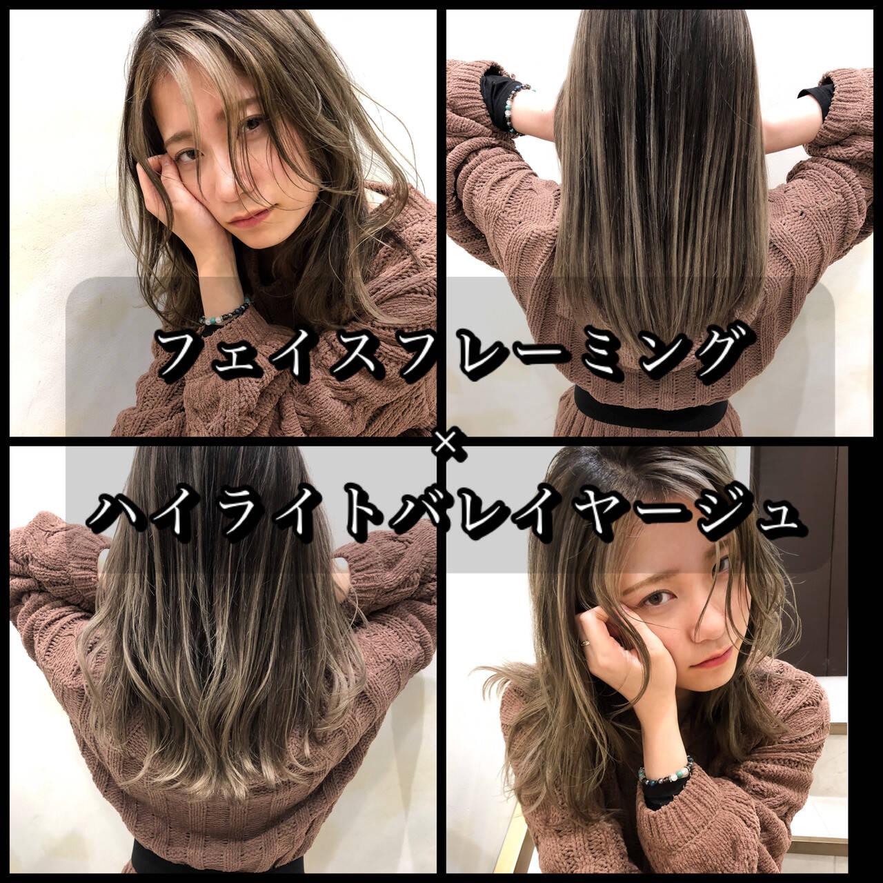 外国人風カラー インナーカラー セミロング ハイライトヘアスタイルや髪型の写真・画像