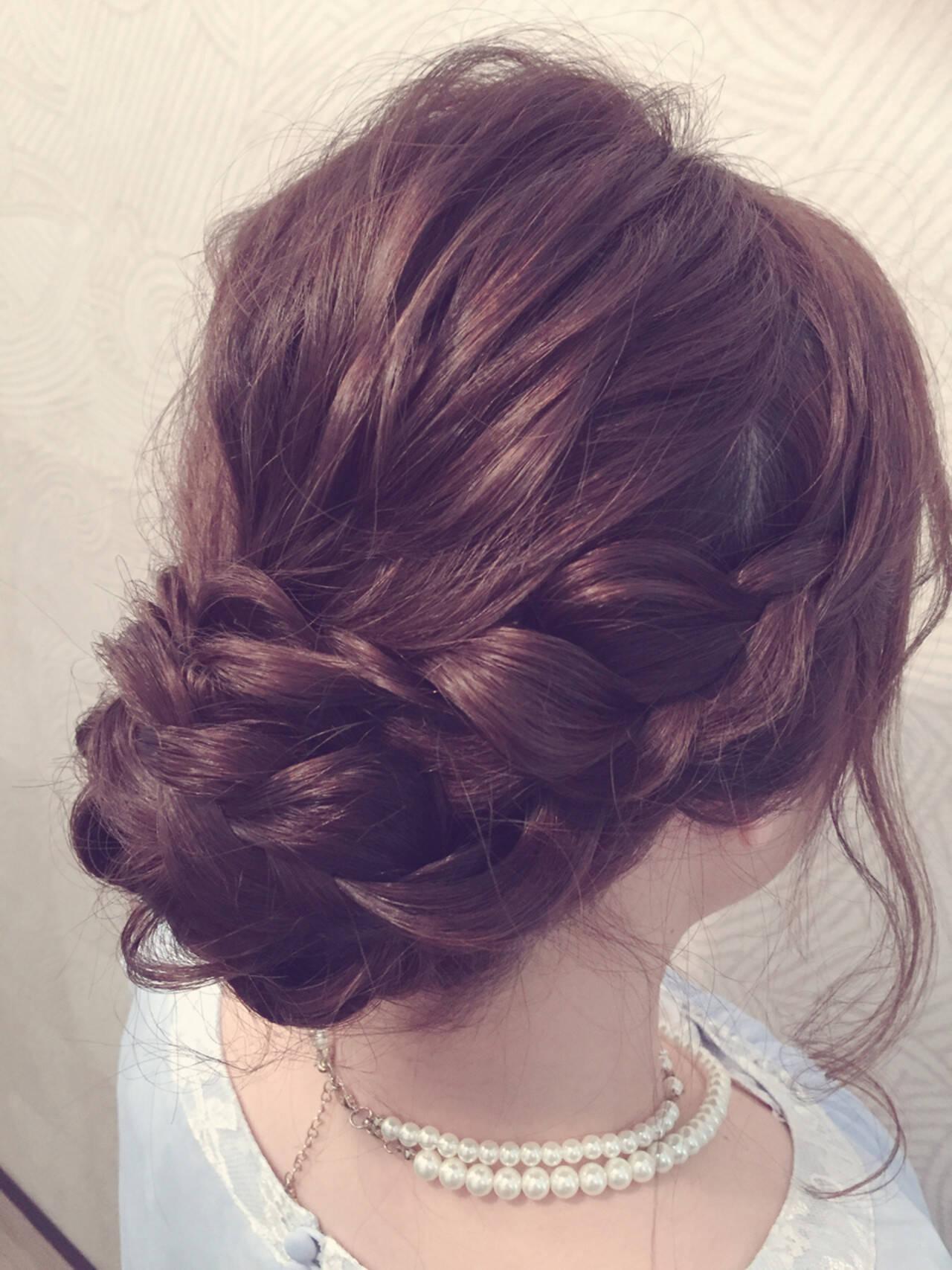 ヘアアレンジ ミディアム フェミニン 編み込みヘアスタイルや髪型の写真・画像