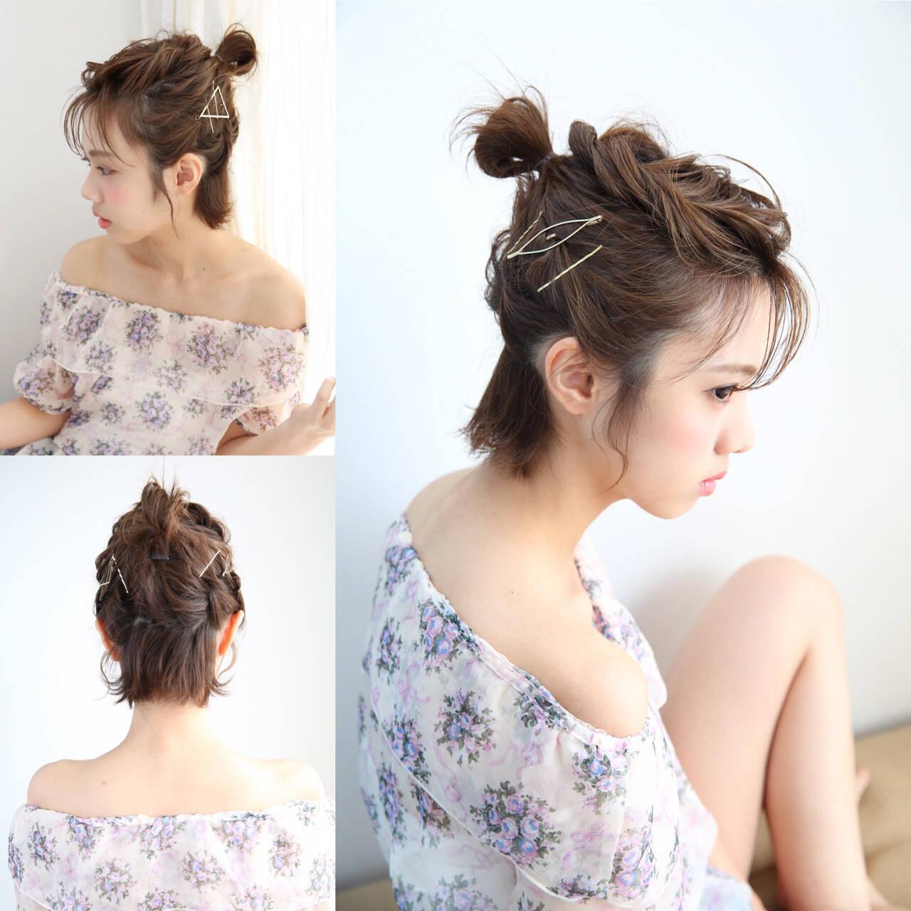 簡単ヘアアレンジ ハーフアップ ガーリー ショートヘアスタイルや髪型の写真・画像