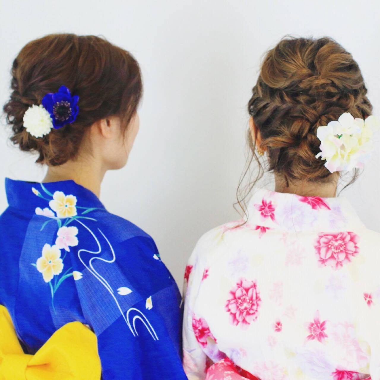 ヘアアレンジ ロング 花火大会 夏ヘアスタイルや髪型の写真・画像