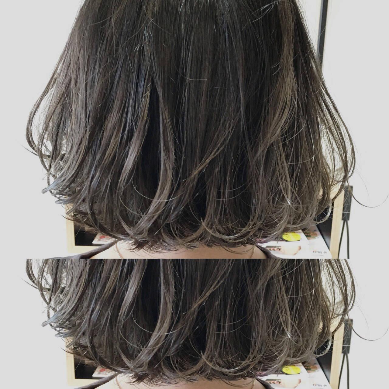 グレージュ ストリート グラデーションカラー ボブヘアスタイルや髪型の写真・画像
