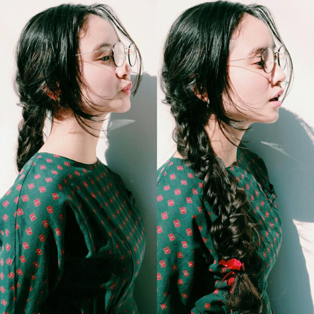 簡単ヘアアレンジ ロング ナチュラル ショートヘアスタイルや髪型の写真・画像