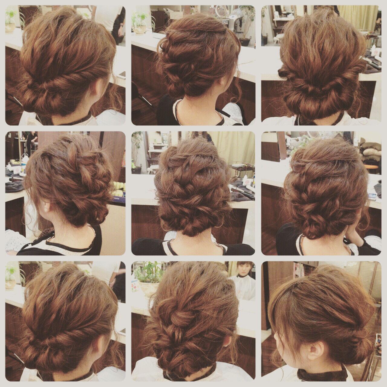 簡単ヘアアレンジ ミディアム ヘアアレンジ 編み込みヘアスタイルや髪型の写真・画像
