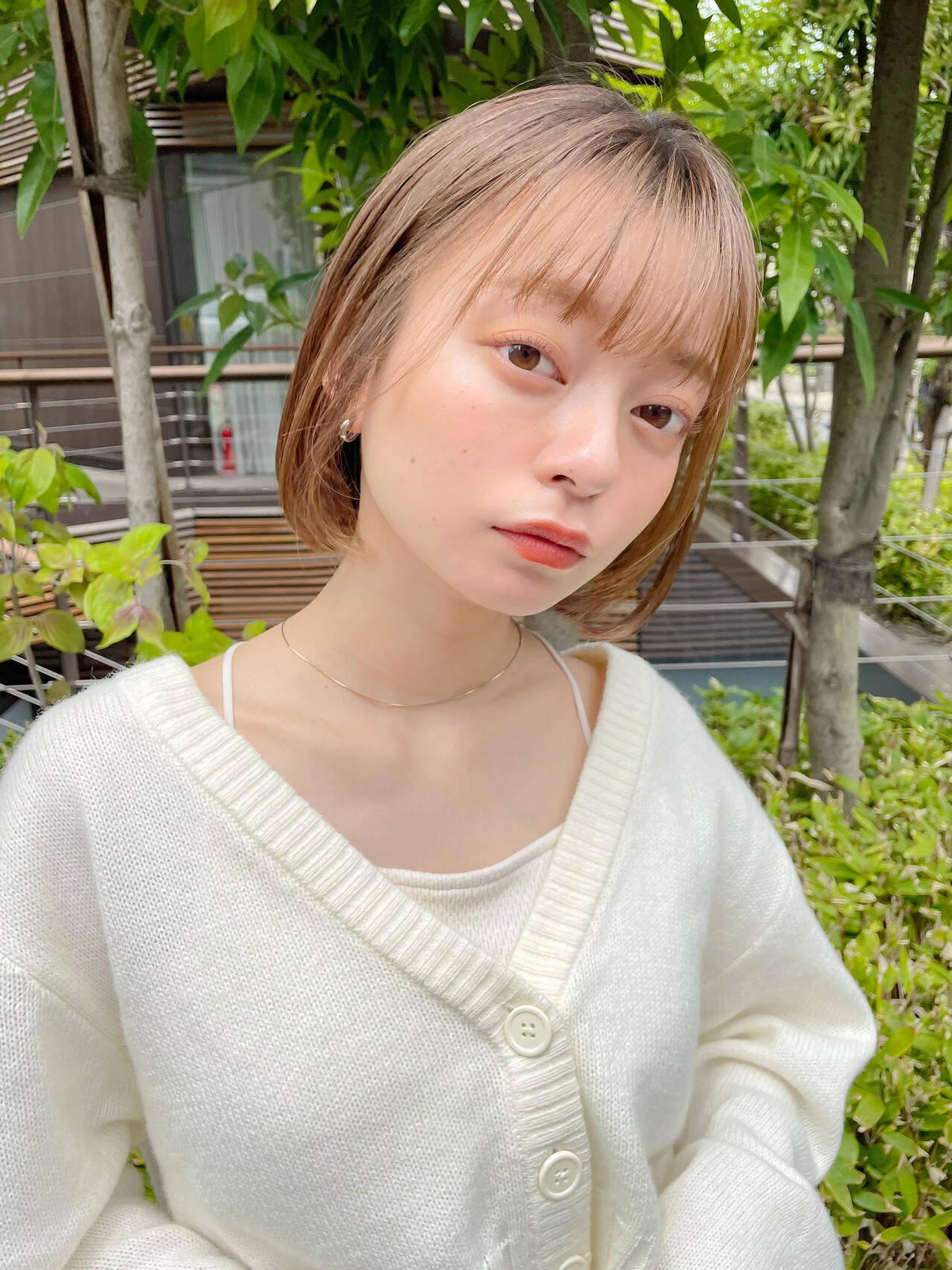 ミニボブ 透明感カラー ナチュラル ショートボブヘアスタイルや髪型の写真・画像