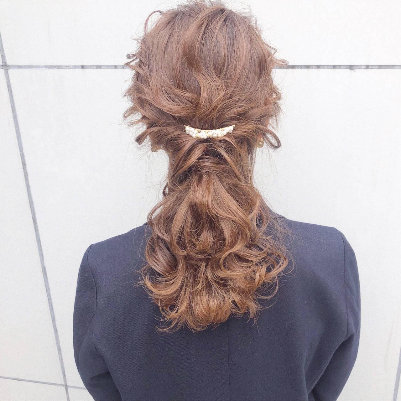 デート ヘアアレンジ 簡単ヘアアレンジ 結婚式ヘアスタイルや髪型の写真・画像