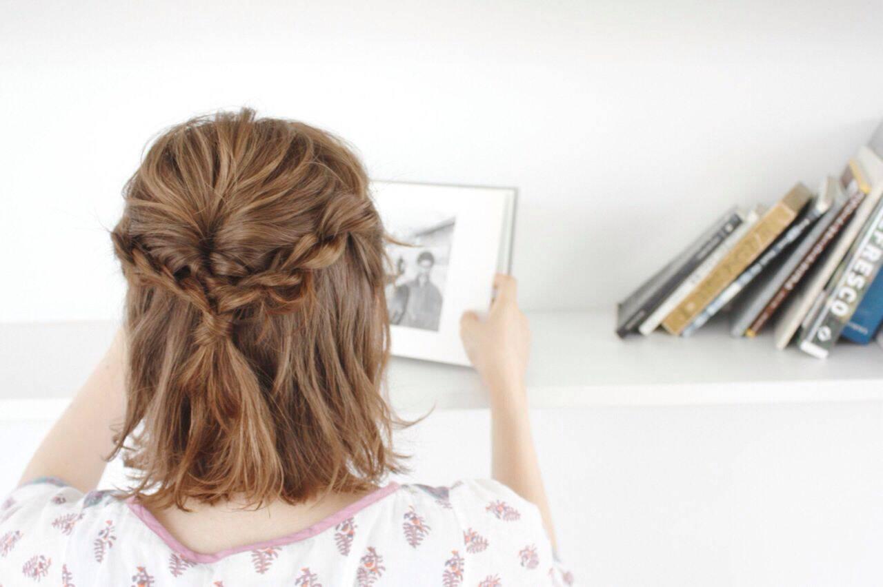 ナチュラル ハーフアップ ルーズ ハイライトヘアスタイルや髪型の写真・画像