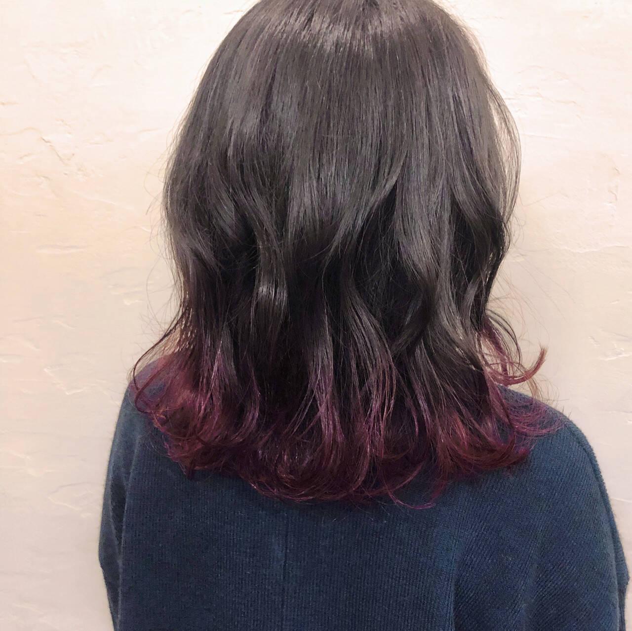 グラデーションカラー パーマ ダブルカラー モードヘアスタイルや髪型の写真・画像