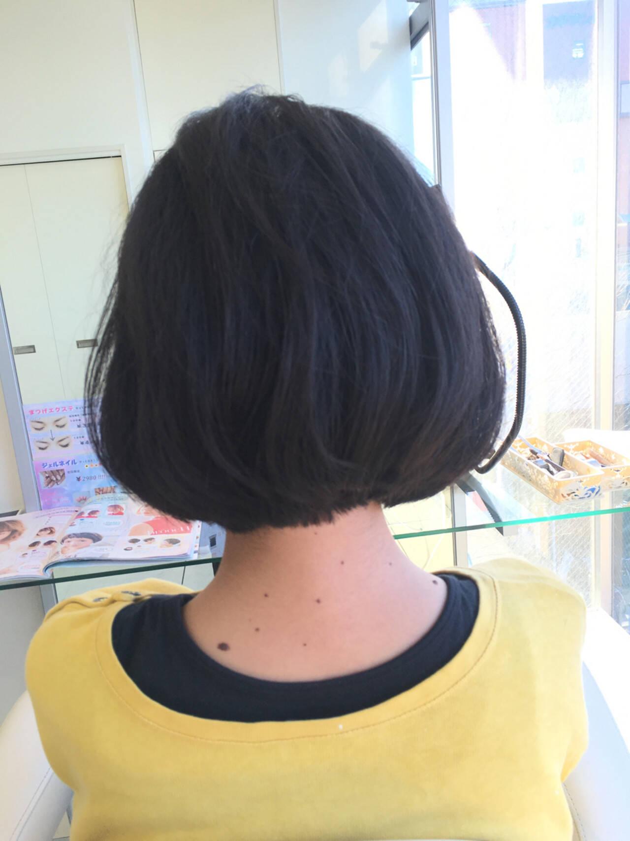 小顔 色気 ガーリー ショートボブヘアスタイルや髪型の写真・画像