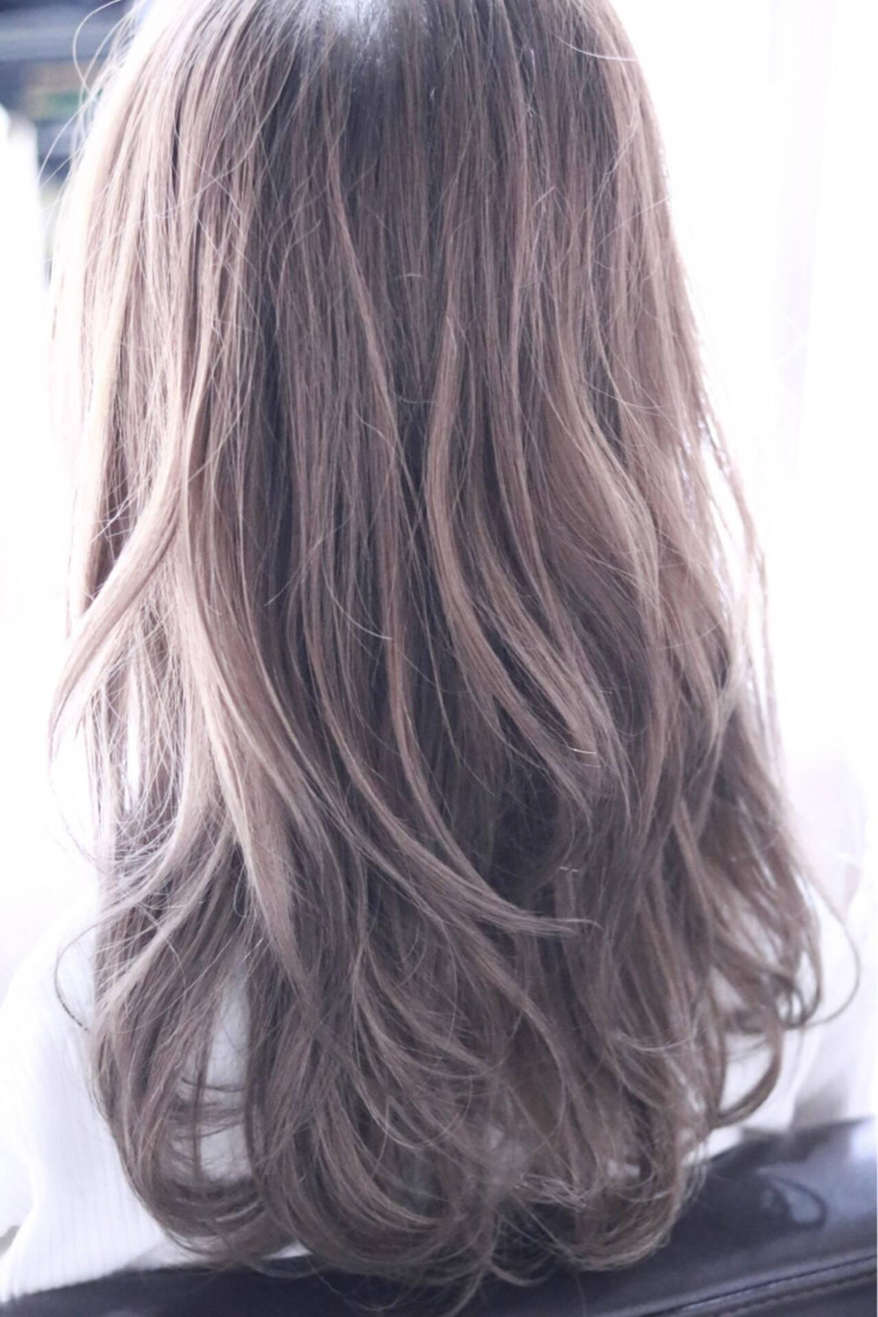 ロング ゆるふわ ラベンダーピンク ラベンダーヘアスタイルや髪型の写真・画像