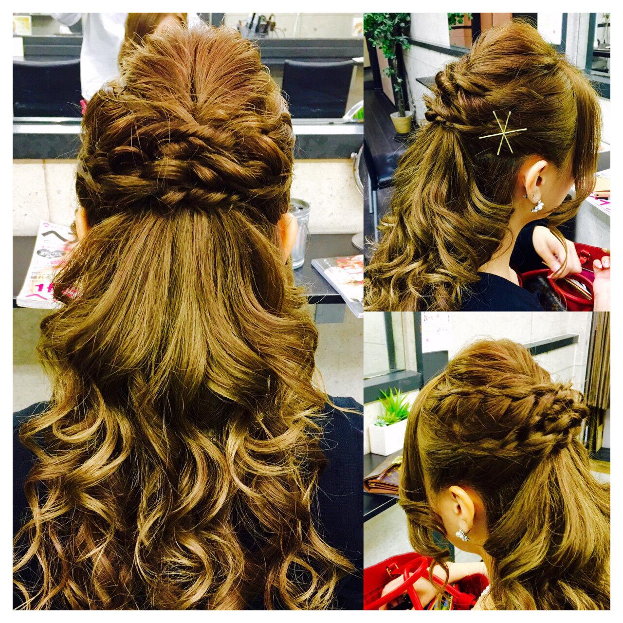 フェミニン ロング ヘアアレンジ 大人かわいいヘアスタイルや髪型の写真・画像