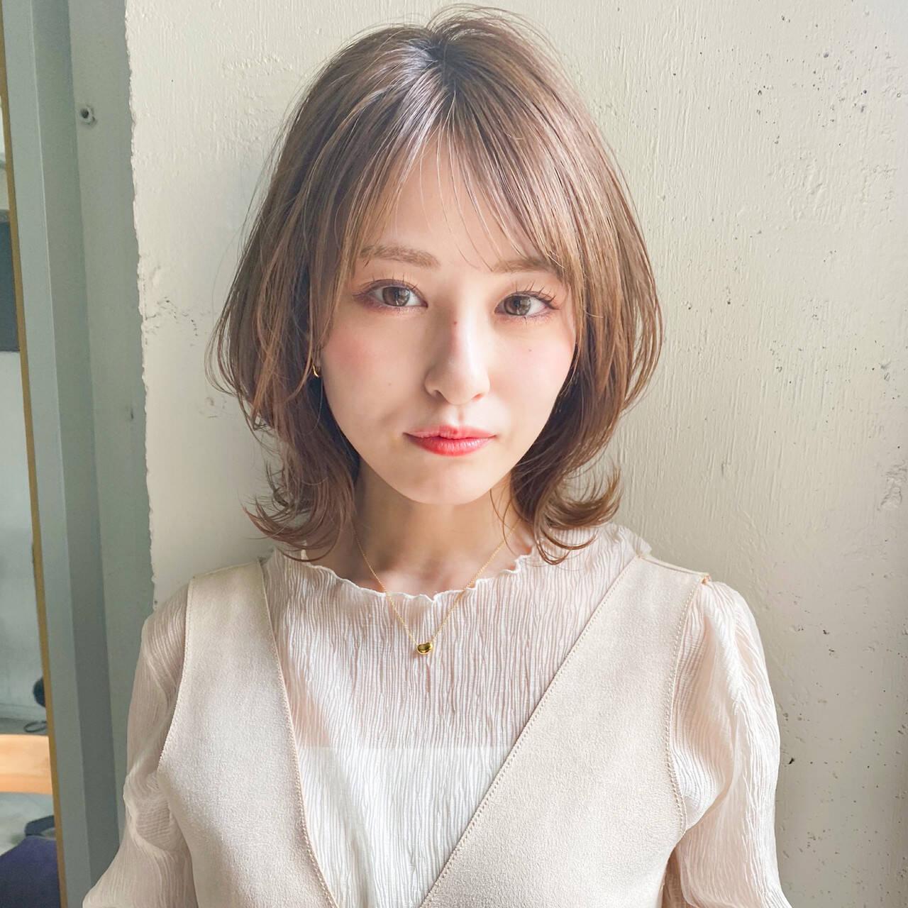 ミディアム 大人かわいい ナチュラル デートヘアスタイルや髪型の写真・画像