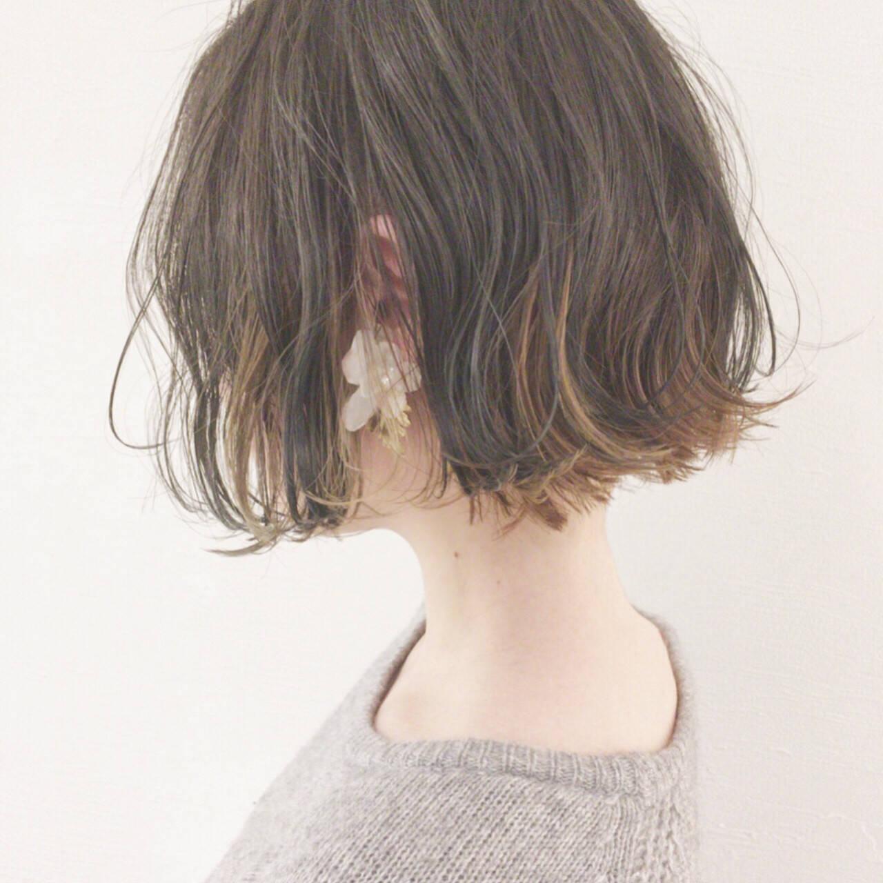ゆるふわ 大人かわいい ナチュラル ボブヘアスタイルや髪型の写真・画像