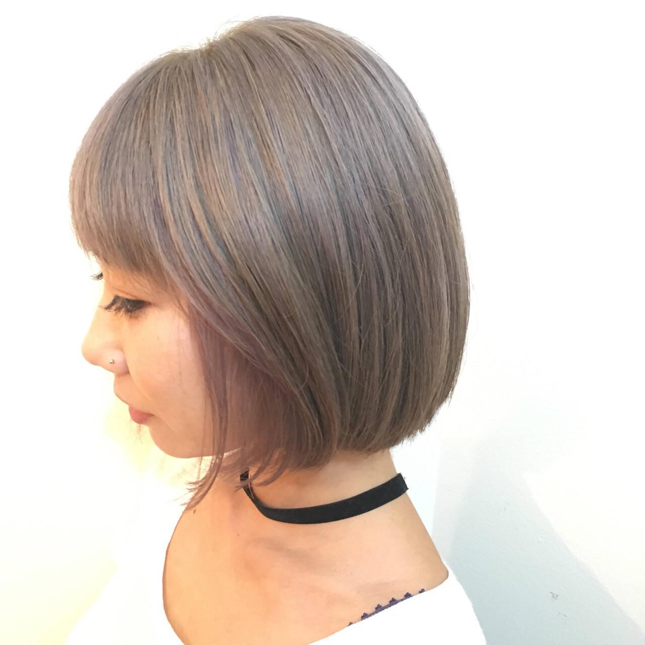 抜け感 グレージュ ボブ モードヘアスタイルや髪型の写真・画像