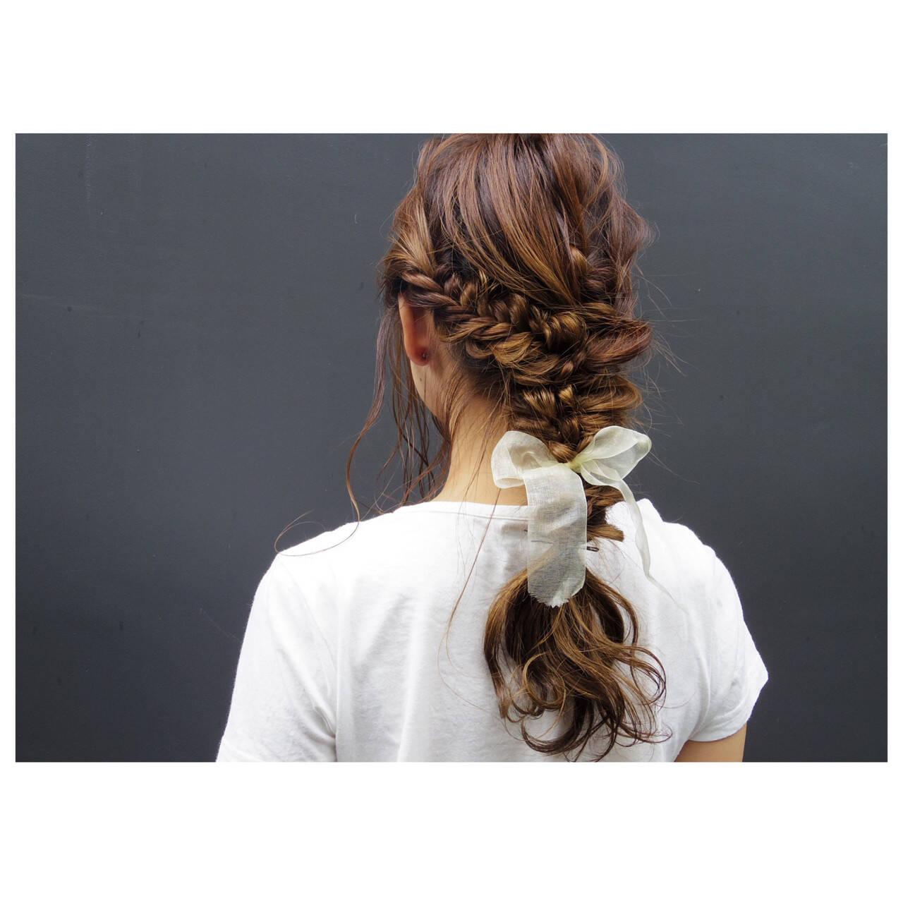 ハイライト ヘアアレンジ 簡単ヘアアレンジ ロングヘアスタイルや髪型の写真・画像