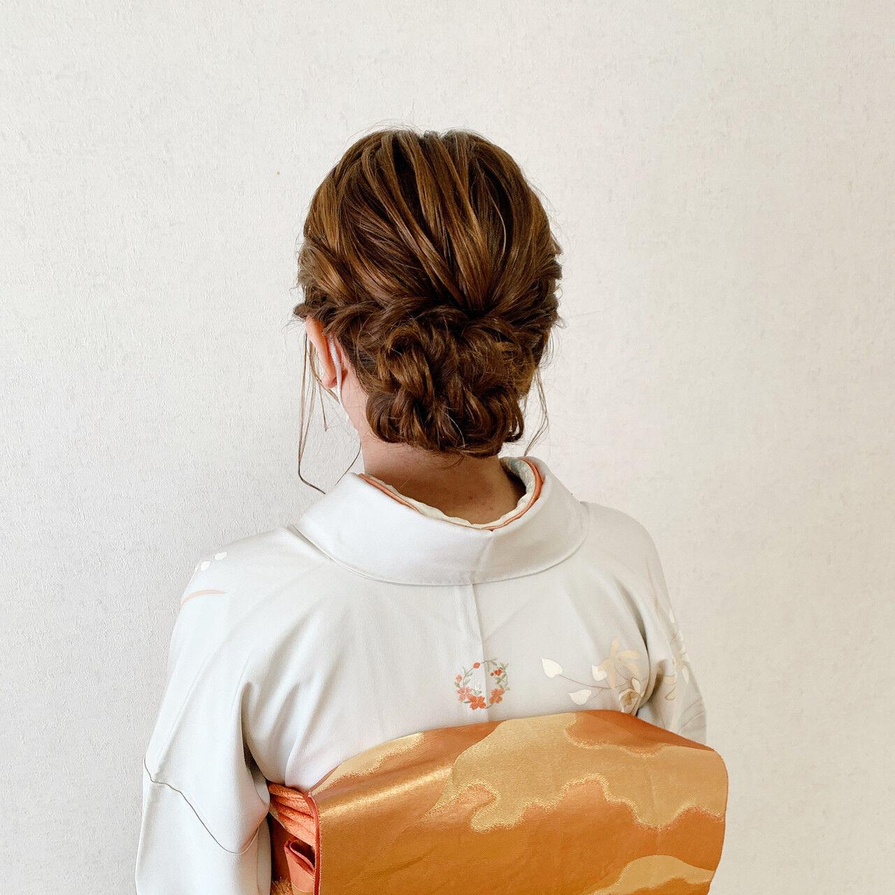 ミディアム エレガント 着物 和装ヘアヘアスタイルや髪型の写真・画像