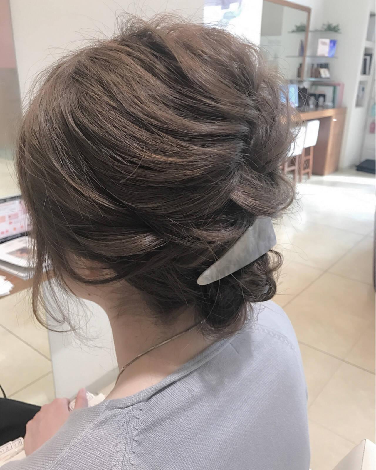 結婚式 編み込み ミディアム 簡単ヘアアレンジヘアスタイルや髪型の写真・画像