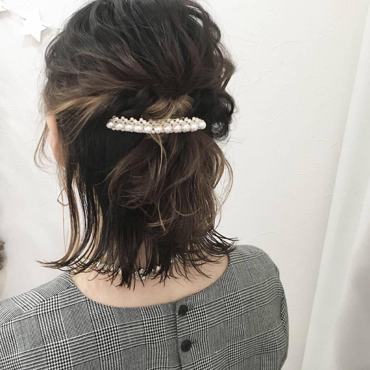 インナーカラー ハーフアップ ナチュラル 結婚式ヘアスタイルや髪型の写真・画像