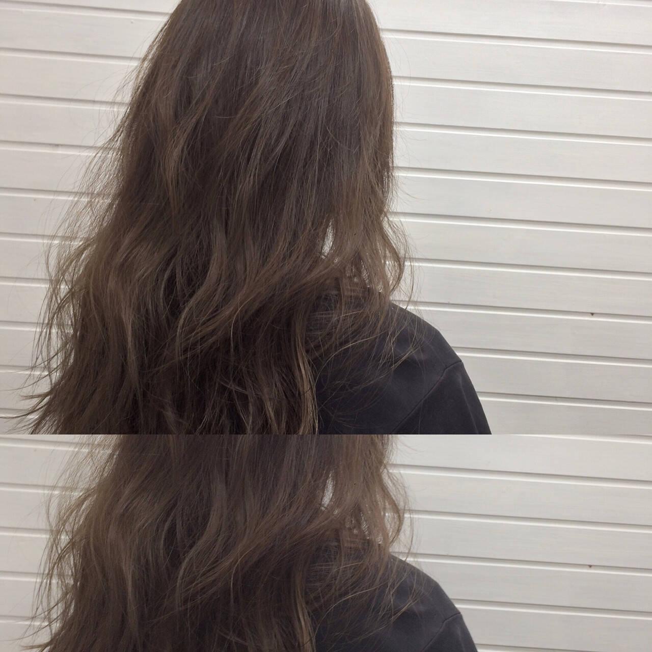 透明感 ダークアッシュ ハイライト 暗髪ヘアスタイルや髪型の写真・画像