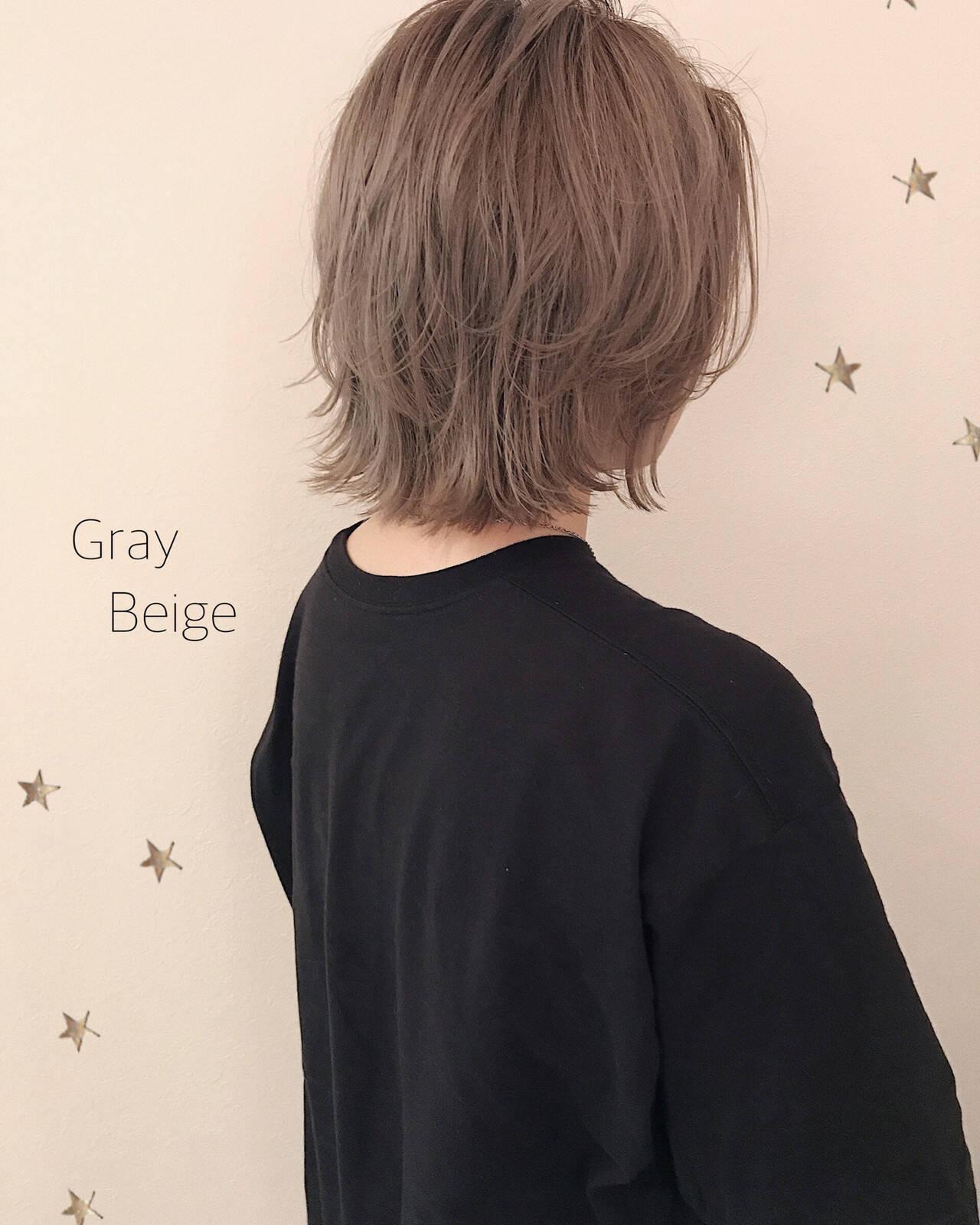 レイヤーボブ ハイトーンカラー ウルフカット ボブヘアスタイルや髪型の写真・画像