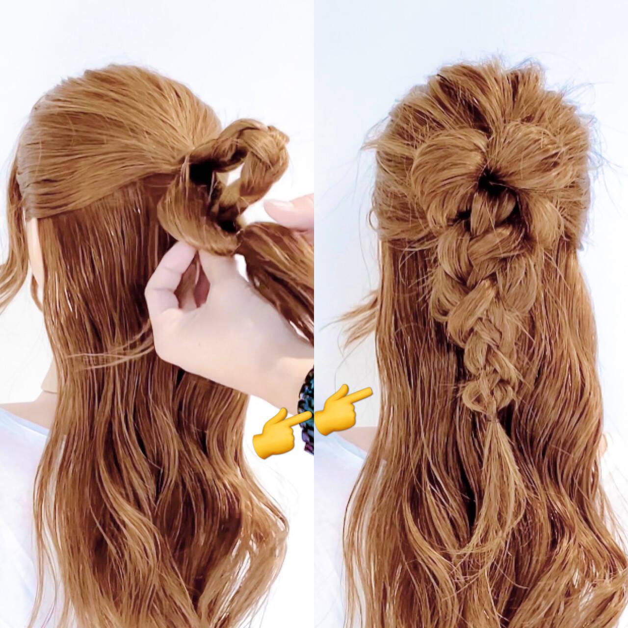 三つ編み ヘアアレンジ ロング くるりんぱヘアスタイルや髪型の写真・画像