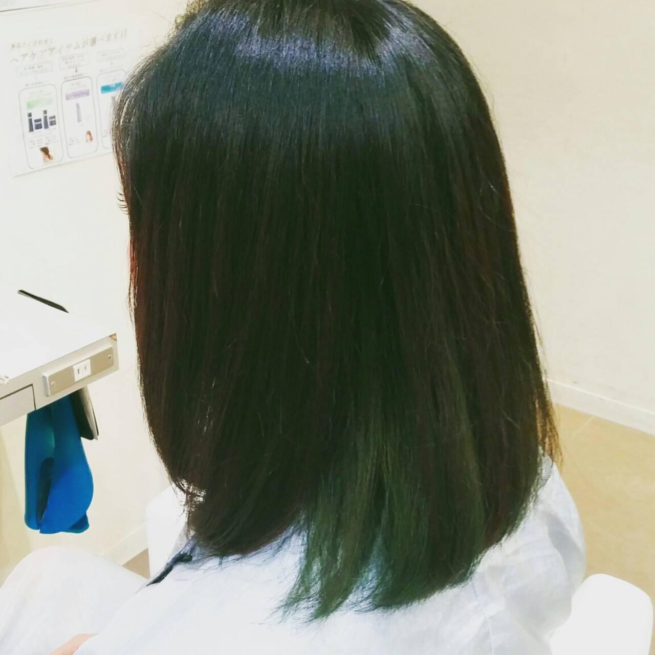 ミディアム 黒髪 ストリート ロブヘアスタイルや髪型の写真・画像
