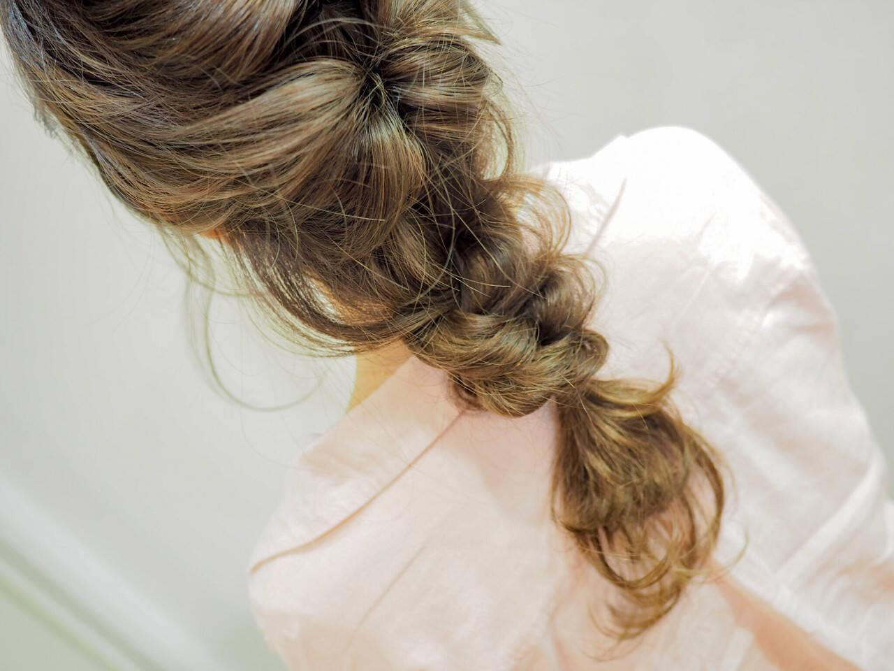 セミロング ヘアアレンジ 簡単ヘアアレンジ ナチュラルヘアスタイルや髪型の写真・画像