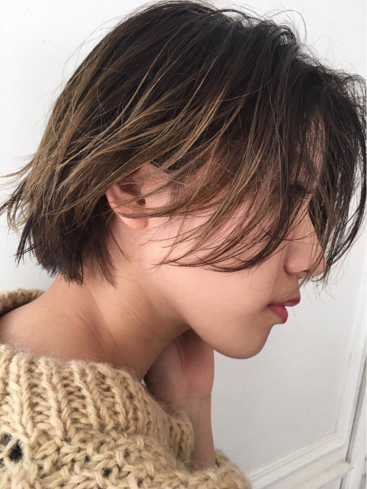 ショート ナチュラル デート こなれ感ヘアスタイルや髪型の写真・画像